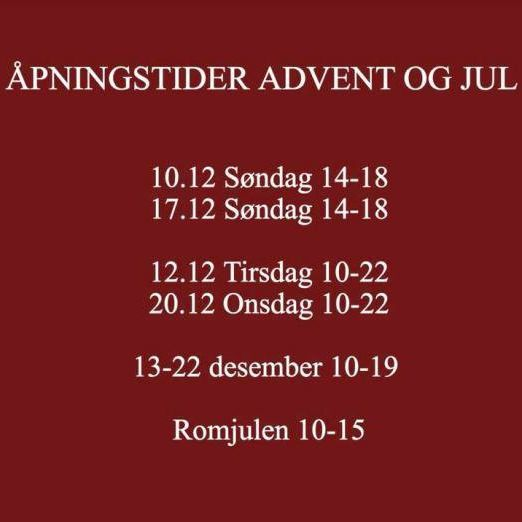 Åpningstider i advent og jul